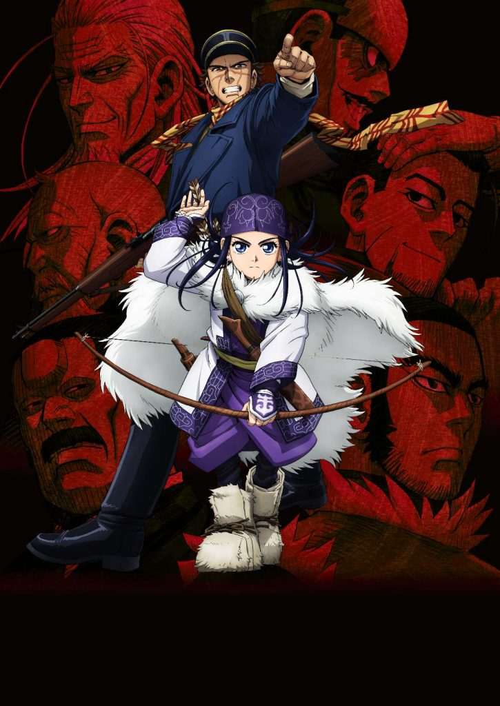 Golden Kamuy anime key visual with Saichi Sugimoto and Asirpa