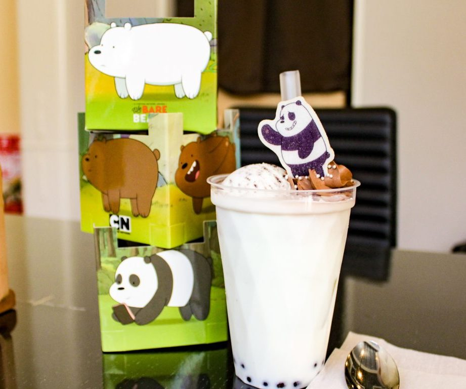 Panda's milky and chocolatey tapioca drink at the Harajuku Collaboration Cafe