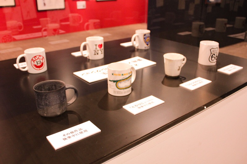 Mugs used by Natsume Ono while writing manga as exhibited at the Natsume Ono 1 Day 1 Character Exhibit