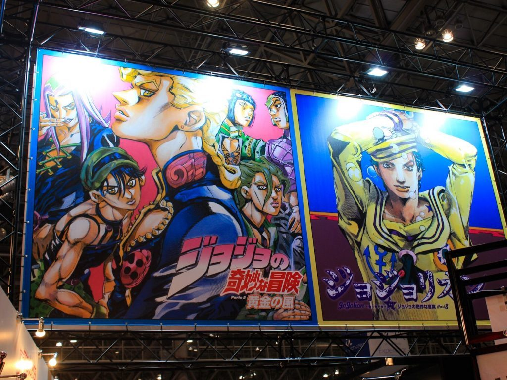 Giorno and company tower above the Shueisha booths at Jump Festa 2019