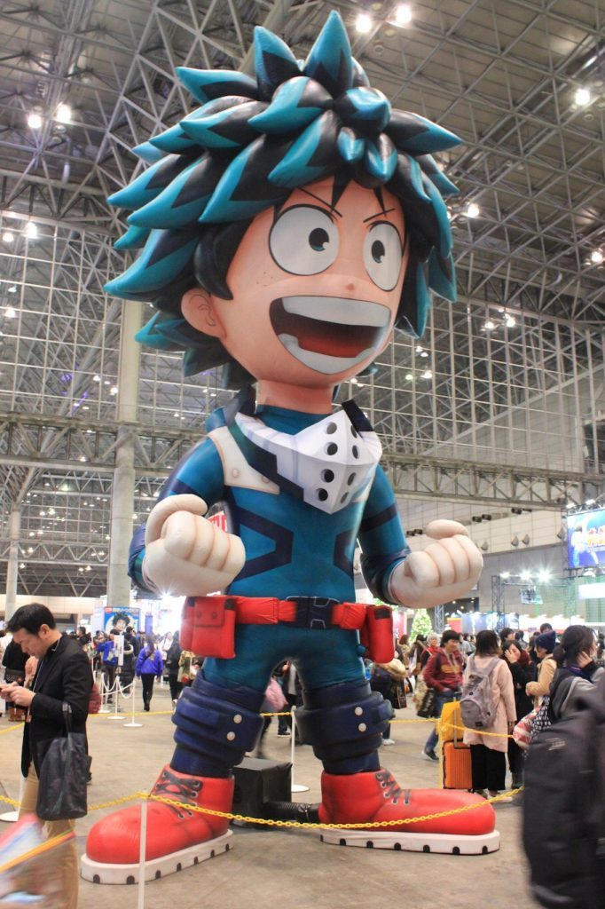 Oversized Deku from My Hero Academia balloon at Jump Festa 2019